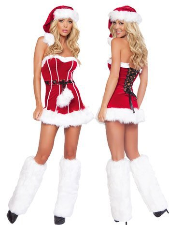 Fashion 3 Piece Naughty Santa Girl Costume Sexy Christmas Costumes