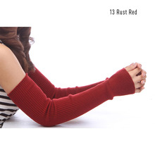 Wholesale Autumn Winter 50cm Women's Wool Arm Warmers Knitted Woolen Arm Sleeve Solid Superfine Long Knitted Fingerless Gloves(China (Mainland))