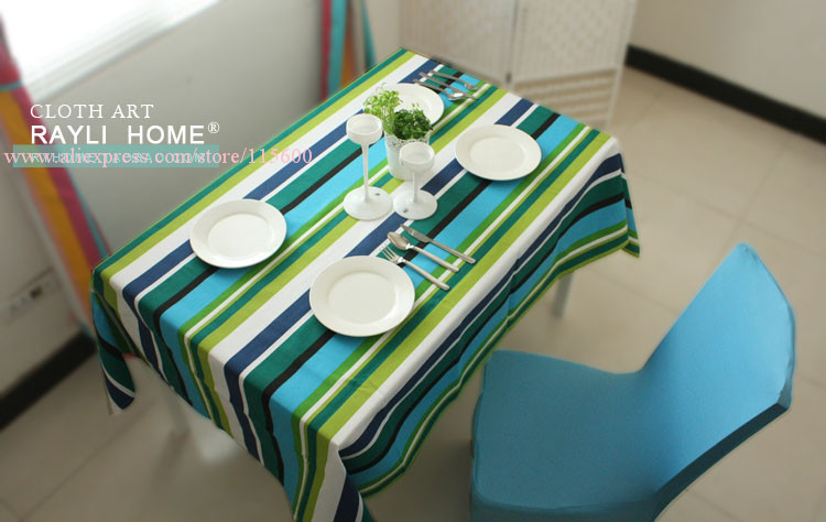 Quality stripe cloth 100% cotton canvas table cloth dining table cover, rectangle table cloth,free shipping(China (Mainland))