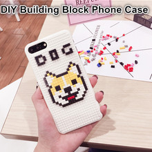 Coque Cute Shiba Inu Dog Back Cover Doge Building Block DIY Brick Puzzle Plastic Hard Phone Case For iPhone 6 6S 7 Plus(China (Mainland))