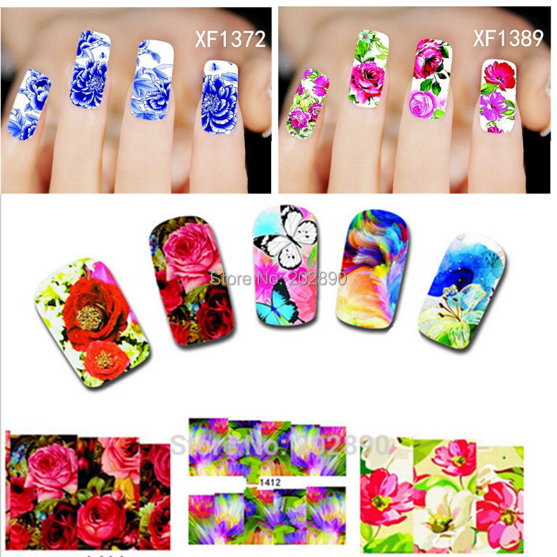 New 50Sheets XF1372-1421 Nail Art Flower Water Tranfer Sticker Nails Beauty Wraps Foil Polish Decals Temporary Tattoos Watermark(China (Mainland))