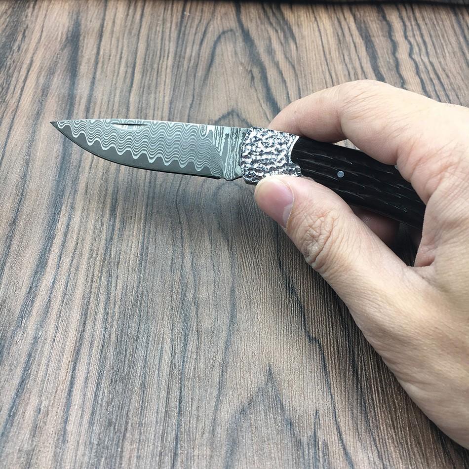Buy 59HRC handmade Damascus steel folding knife  Ebony handle knife Portable outdoor camping pocket knife Utility cheap