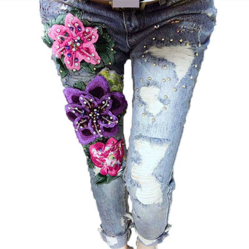 3D Flowers Style Women Denim Jeans Flower Skinny Jeans Pencil Pants With Embroidery Embroidered Flares Lady Ripped Trousers(China (Mainland))