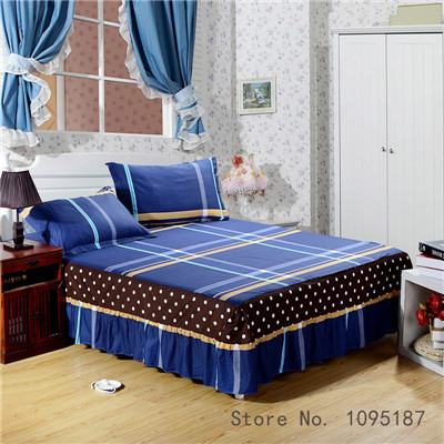 Home Textile bed sheet set (bedskirt +pillowcase) 100% cotton bedspread sleeping cover dust ruffle bed cover twin queen king 3pc(China (Mainland))