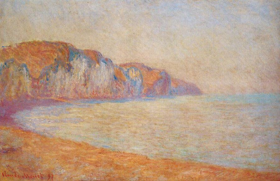 Cliff at pourville in the morning,High quality,Claude Monet Canvas Art for sale,Impressionist Painting Landscape,Hand-painted(China (Mainland))