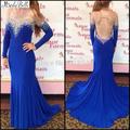 Royal blue plus size Long sleeves 2016 prom dresses beading evening wear backless dresses floor length