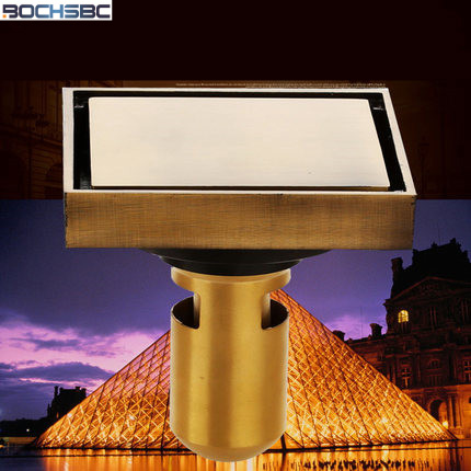 European Antique Copper Invisible Sink Strainer Deodorization Toilet Drainage Square Floor Drain Balcony Large Sink Drain(China (Mainland))