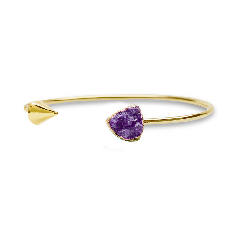 Gold/Sliver Adjustable Natural Stone Amethyst Cuff Bangles Triangle Arrow Shape Rose Quartz Bangle Women Christmas Gifts - Qilmily Store store