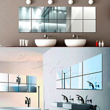 16Pcs Tiles Mirror Wall Stickers Mirror Decor Self-adhesive Decorative Mirrors(China (Mainland))
