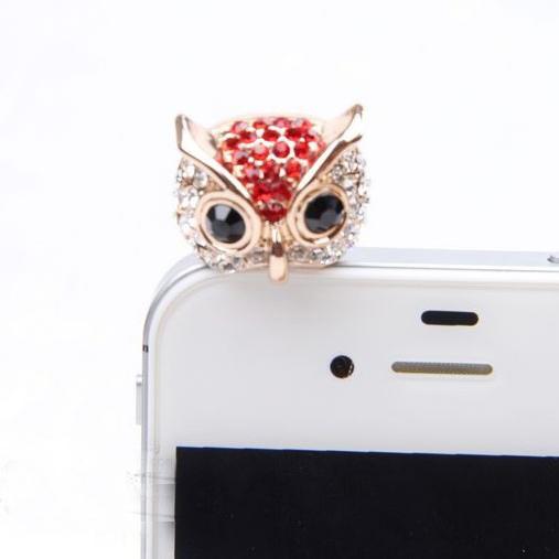 Cute Novelty Christmas Gift Owl Dust Plug Pin Crystal Animal Dust Plug Anti Proof Jack Plug Pin Ear Cap For 3.5mm With Free Ship(China (Mainland))