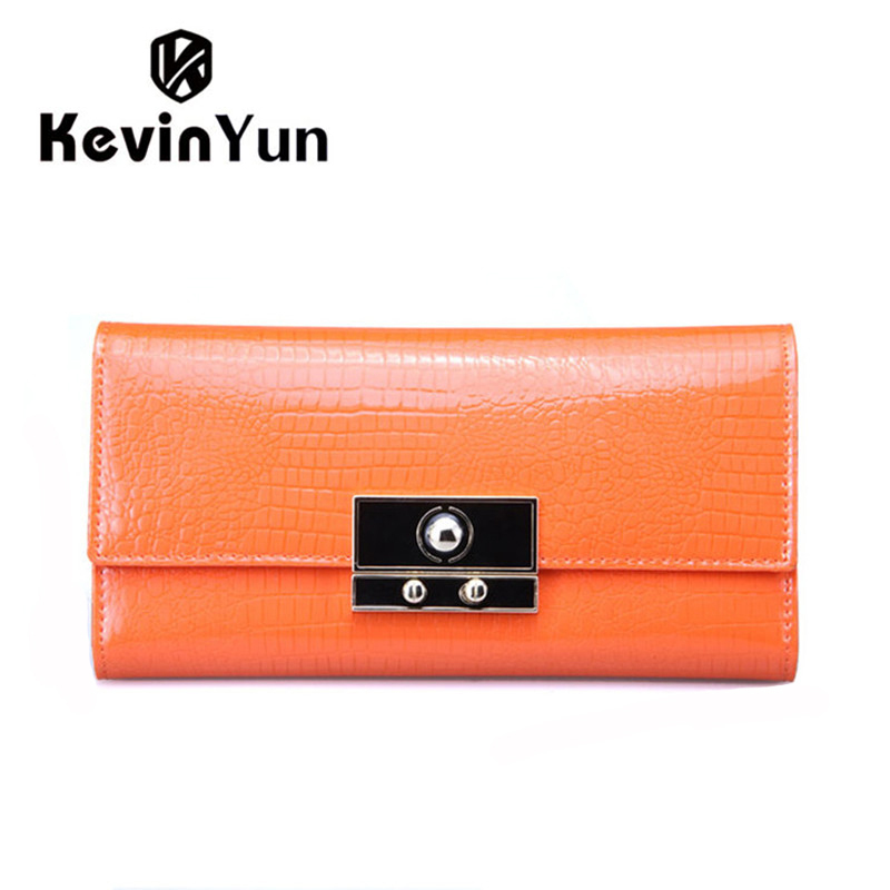KEVIN YUN High Quality Women Wallets Designer Lock Patent Leather Purse Female Long Clutch Wallet Casual Lady Carteira(China (Mainland))