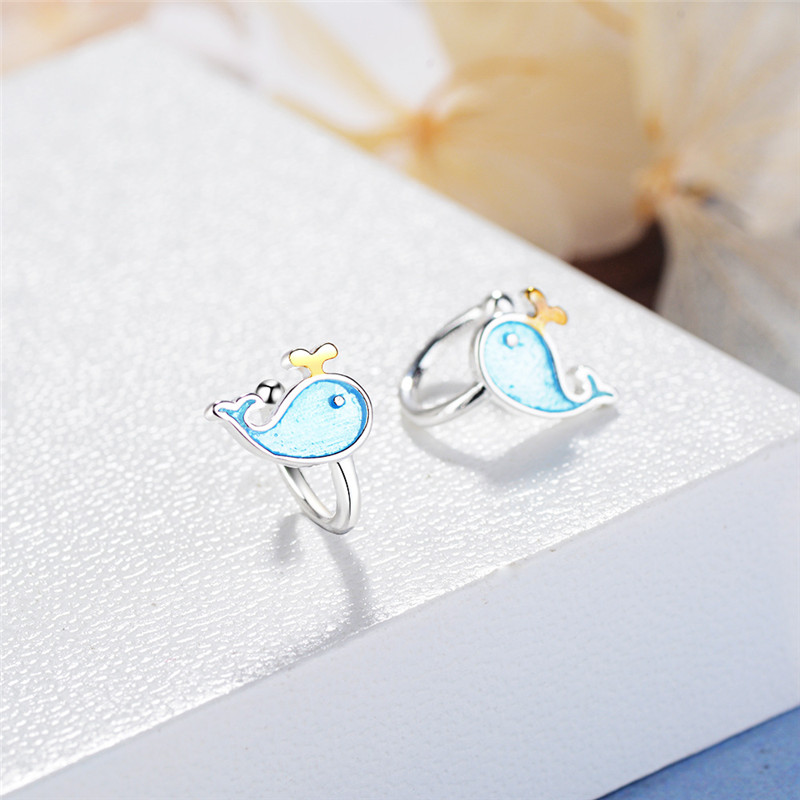 Cute Animal Whale Ear Clip Cuff Whale Blue Enamel Ear Clip Earrings without Piercing for Women Girls Clip Earrings no Hole 2018