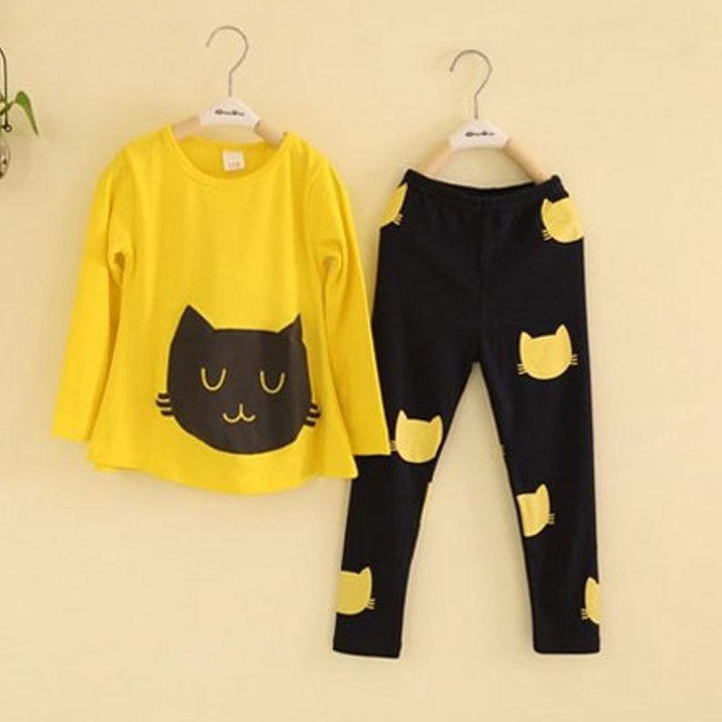 2015 toddler girls clothing sets brand hello kitty tracksuit for spring toddler girl sports clothes set roupas infantis menina(China (Mainland))