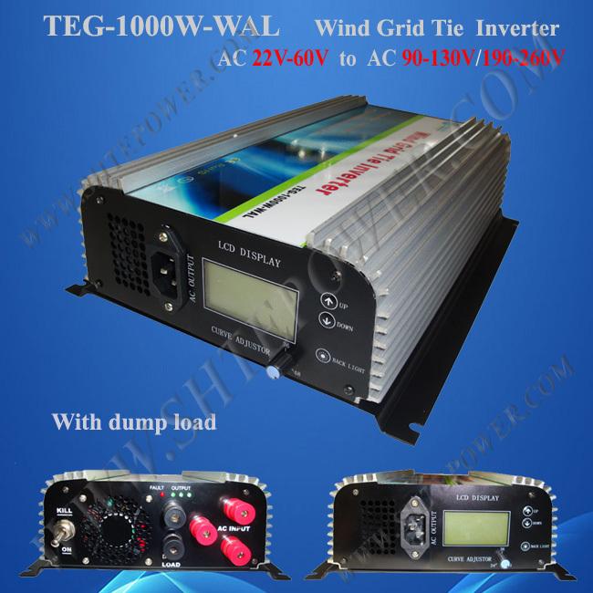 1000W on Grid Tie Wind Power Inverter AC/DC 22V~60V to AC 90V~130V,Dump Load Controller,for 3 Phase Wind turbine(China (Mainland))
