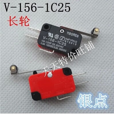 Cheapest!! 10pcs/lot V-156-1C25 Long Hinge Roller Lever AC DC Micro Switch ,snap action switch(China (Mainland))