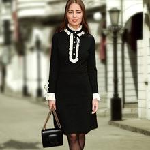 Street Dress New 2016 Autumn New Fashion Peter Pan Collar Full Flare Sleeve High Quality Women Luxury Black Elegant Dress(China (Mainland))