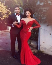 Vestido De Festa 2016 Vintage Muslim Red Evening Dress 2017 Sexy Sheer Backless Lace Long Sleeve Formal Evening Gowns(China (Mainland))