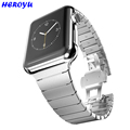 For Apple Watch Band 42mm Black Gold Stainless Steel Bracelet Buckle Strap Clip Adapter for Apple