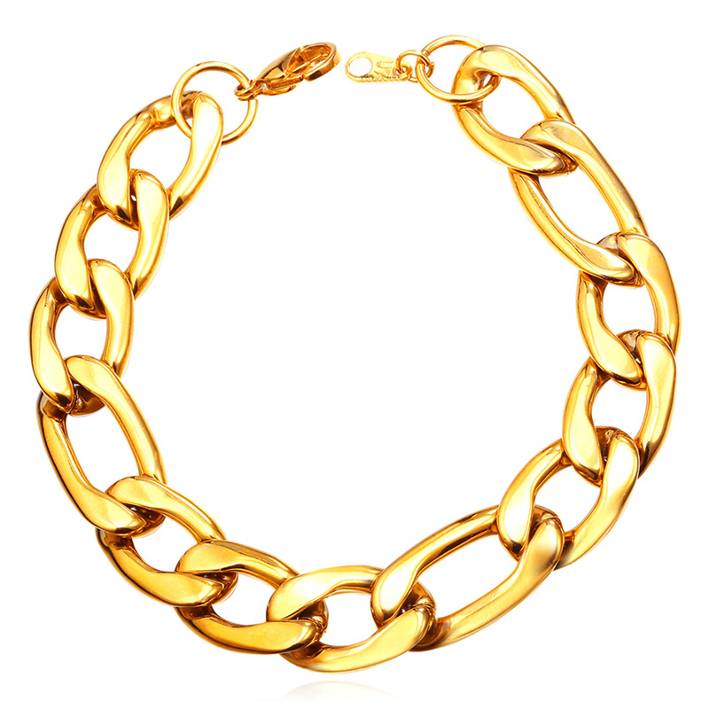 Figaro Chain Link Bracelets Men Jewelry Party 18k Gold/Black Gun Plated Stainless Steel Bracelets Charms Jewelry Trendy YGH2012(China (Mainland))