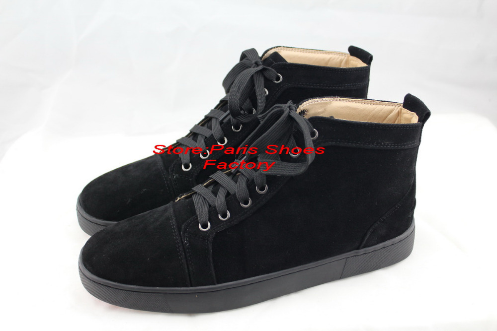 2015 new suede all black Red Bottom men shoes Flat High Top women ...