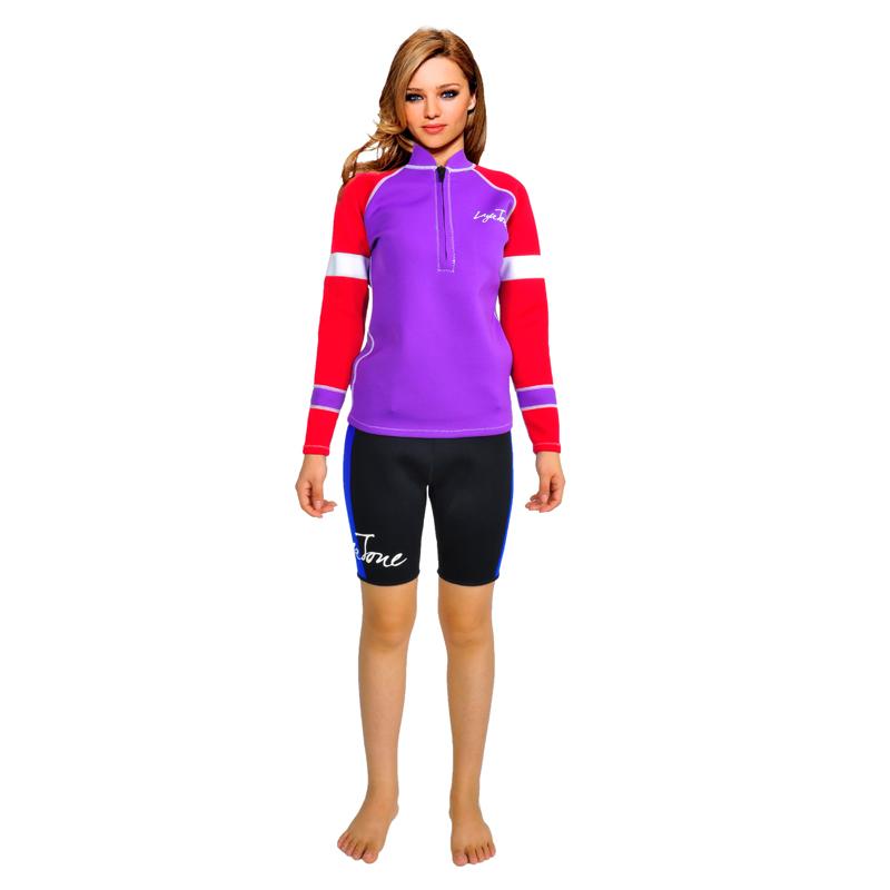 Фотография 2016 NEW 2mm Neoprene long sleeve purple Scuba diving surfing swimming sweatshirt For women B1609