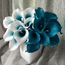 100 Real Touch Calla Lily Teal Latex Calla Lilies Teal Blue Wedding Flower For Wedding Centerpieces Decoration Wholesale Flowers(China (Mainland))