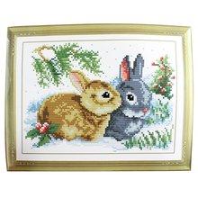 LNHF 5pcs/lot Rabbit Grass Pattern Stamped Cross Stitch Counted Kit for Lady Woman