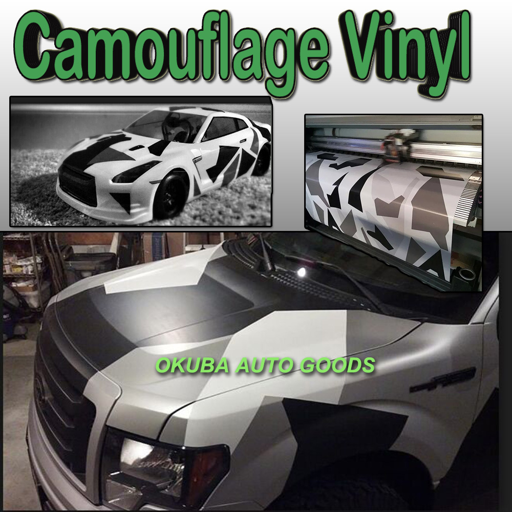 Snow Camo Vinyl Wrap Camouflage Vehicle Wrap Glossy/Matte Surface Arctic Camo Vinyl Full Body Car Sticker 1.52*30m/roll(China (Mainland))