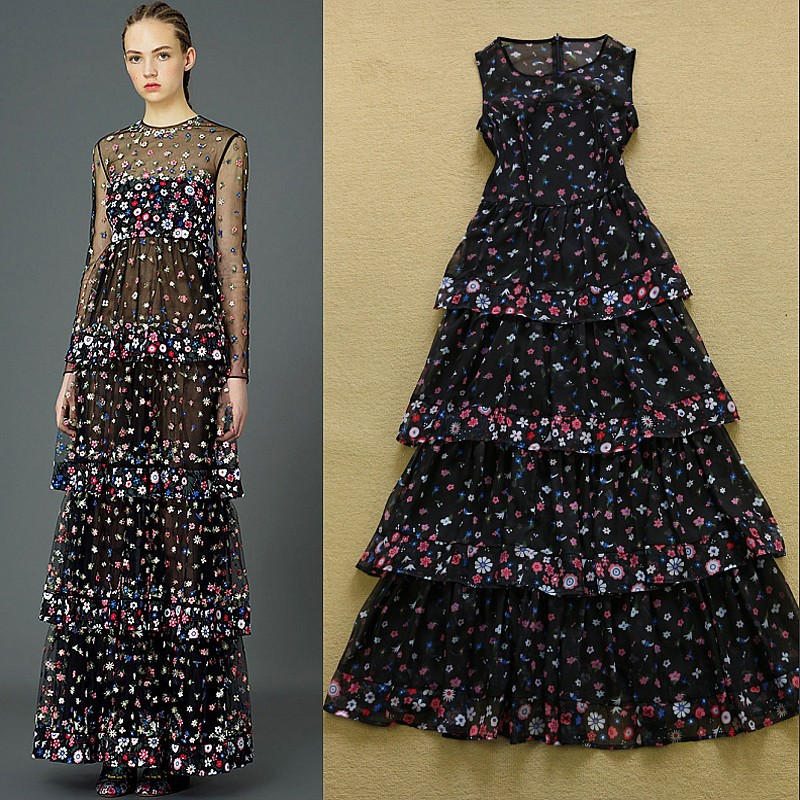 High Quality 2015 Newest Fashion Women's Sleeveless Tank Holiday Bohemian Vintage Tiered Floral Print Long Dress(China (Mainland))