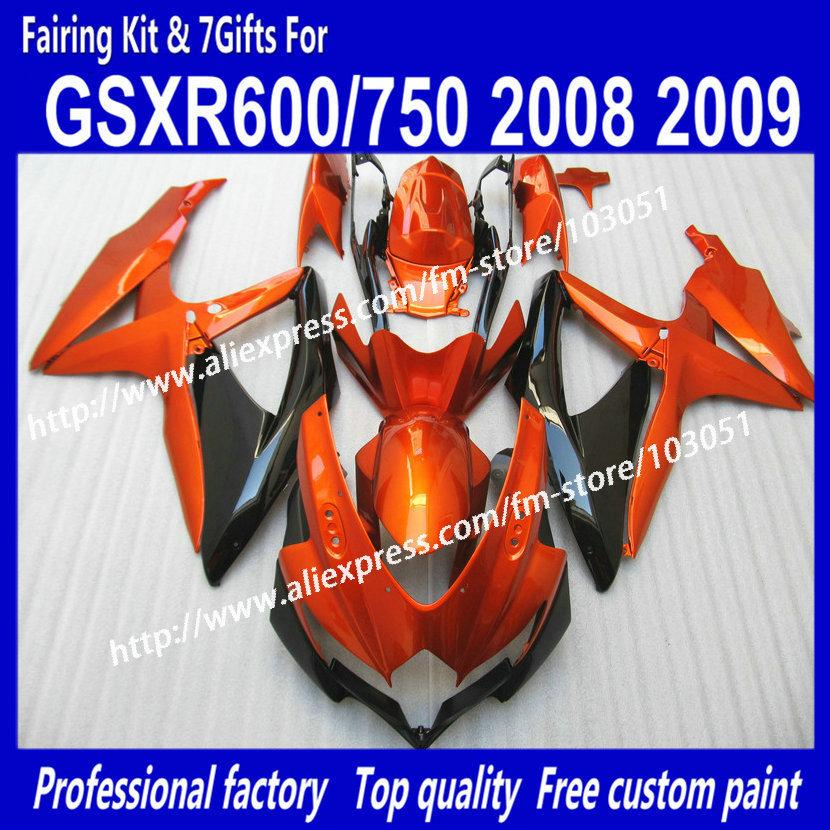all flat orange in black body fairings kit for SUZUKI GSXR 600 2008 GSX R750 2009 GSXR600 GSXR750 08 09 K8 fairing set(China (Mainland))