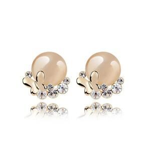 2016 Fashion Insect Zinc Alloy women Round Party stud earrings for girls Crystal Butterfly Earring female jewelry(China (Mainland))