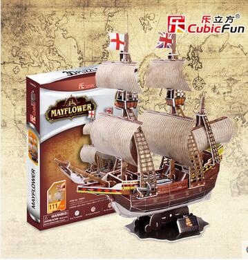 Cubic Fun 3D Three-dimensional Jigsaw Puzzle Children UK Mayflower ship paper model T4009h(China (Mainland))