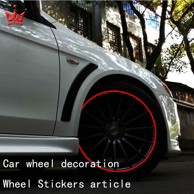 Car stickers Automotive wheel trim Reflective Article wheel hub ring attached circumference edge Cover Stickers Change color(China (Mainland))