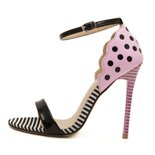 Sweetheart Girls Sandals Office 2015 Casual Buckle Polka Dot Open Toe Pink Yellow Color Shoe Woman Summer High Heel scarpe donna