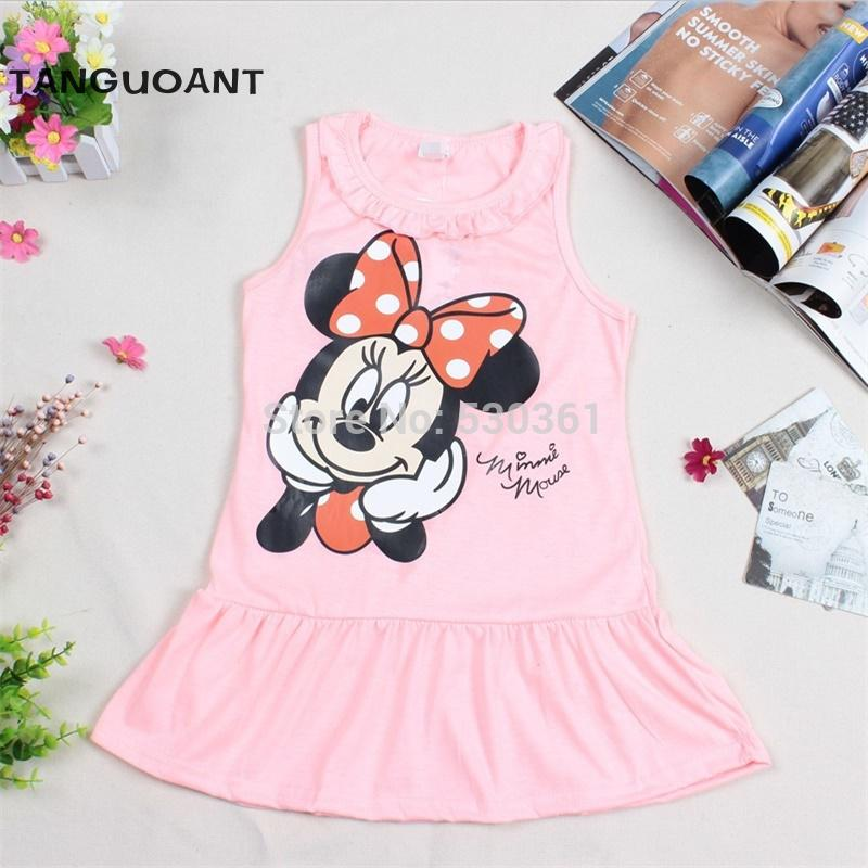 New 2016 Kids girls clothes cute cartoon Dress, 2 colors of red and pink nice Clothes, lovely baby girls dress(China (Mainland))