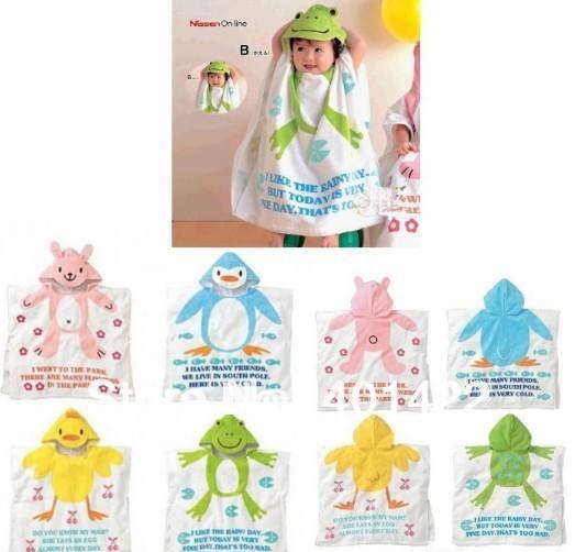 Free shipping new design  hooded baby towel infant bath Robe with Cartoon Terry Bathrobe bath towel Hooded kid's bath towel