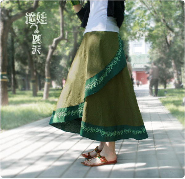 2015 Spring New Women Green Linen Asymmetrical Skirt Nepal Style Large Hem Long Full Skirts Casual Free Size LS332(China (Mainland))