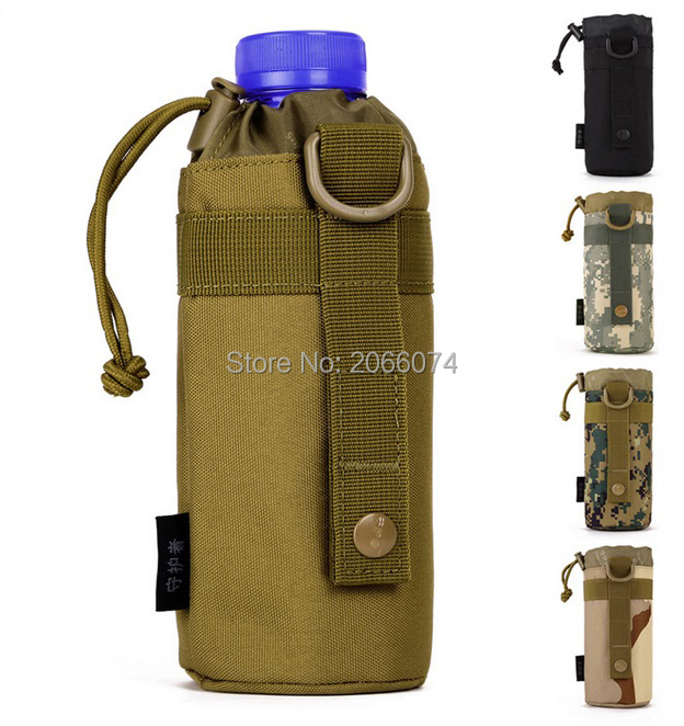 MOLLE system water bottle D-ring holder drawstring pouch purse,Attack Safari Army Durable Travel Hiking US Equipment Free post(China (Mainland))