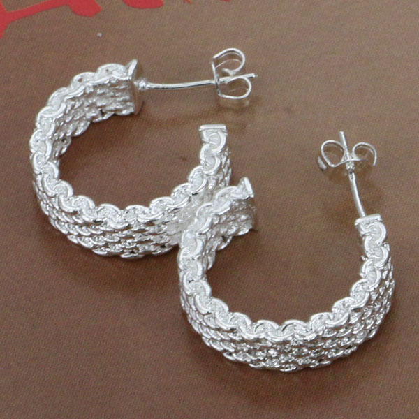 E082 Wholesale Free shipping silver plated earrings ,silver plated fashion jewelry , Weaved Web Earrings E082 /bkeakbla(China (Mainland))