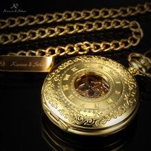KS Retro Skeleton Alloy Golden Case Copper Key Style Roman Dial Luxury Case Clock Mechanical Hand