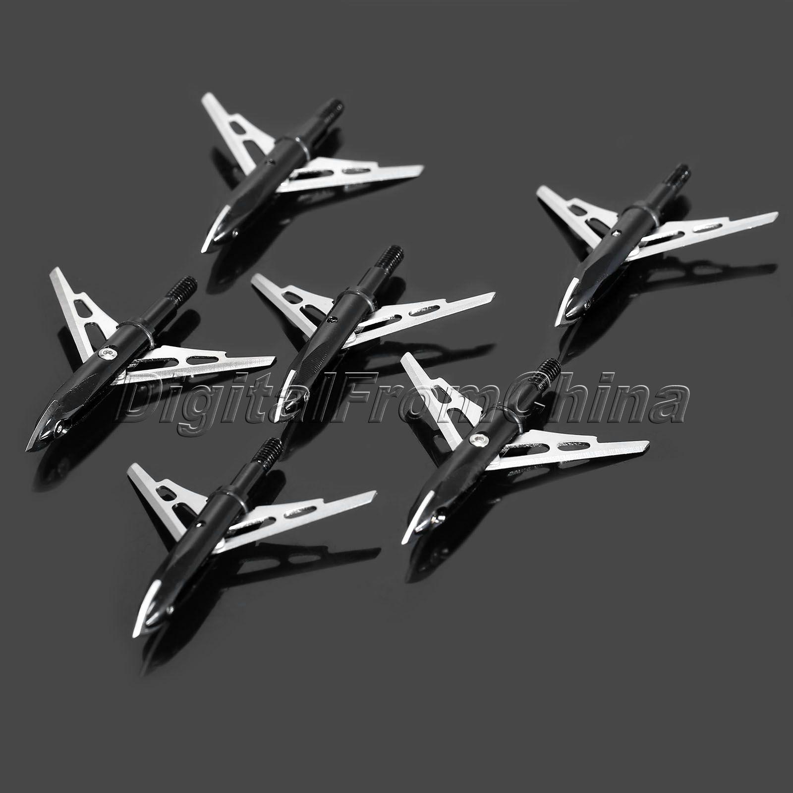 6 Pcs/lot Black Stainless Steel Hunting Arrowheads Arrow Heads Points Broadhead 100 Grain Compound Archery Shooting Long Bow(China (Mainland))