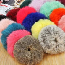 5pcs/lot Genuine Rabbit  Fur Hair Holders Elasticity Rubber Hair Band Roller Ring Tie Hair for Girl Women Hair Accessories(China (Mainland))