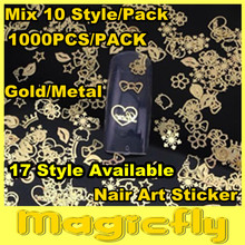 DNP T 001 1000pcs pack Mix Style 17 Style Available Gold Nail Art Metal Sticker