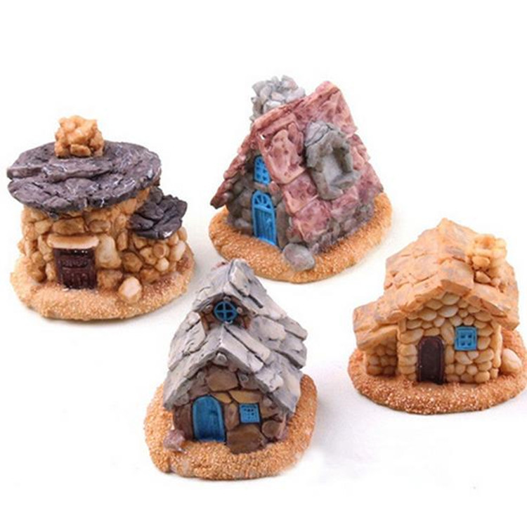 Big Sale Stone House Fairy Garden Miniature Craft Micro Cottage Landscape Decoration Random Style For DIY Resin Crafts(China (Mainland))