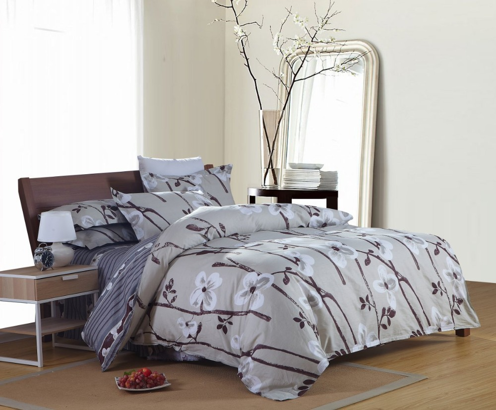 Free Shipping 100% Pure Cotton reactive printed Solid Color Bedding Sets bed linen 4pc Pure Cotton Reactive GrayBedding Sets(China (Mainland))
