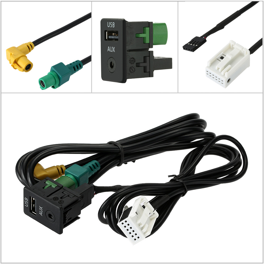 Rcd510 Rns510 Car Aux Usb Adapter Audio Cable Switch Plug: Car USB AUX Audio Vedio Cable Switch Plug For VW Passat B6