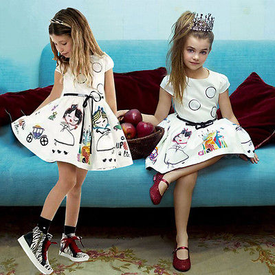 2016 Summer 2-7Y Baby Kids Girls White Cartoon Printing Dress Toddler Princess Party Tutu Floral Dress 2-7Y(China (Mainland))
