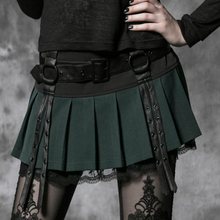 PUNK RAVE Gothic kilt design sexy mini green lace pleated skirt with straps