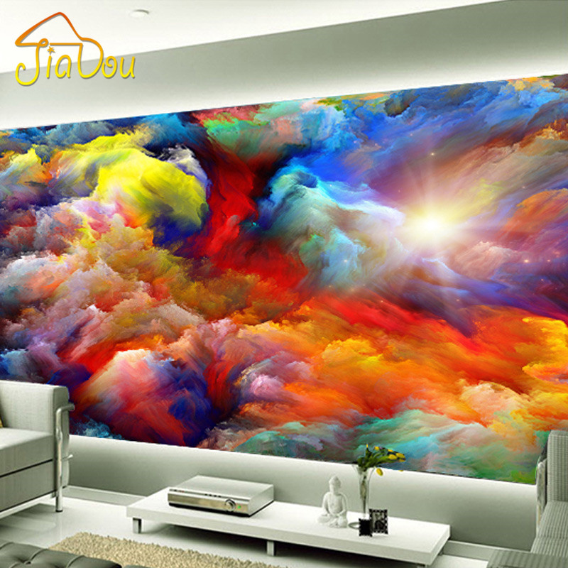 High quality custom clouds 3d wall mural living room tv for Clouds wall mural