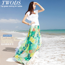 Twods 2015 new chiffon maxi skirts womens top grade 5xl plus szie slim floral print floor length summer breach long 8s skirts